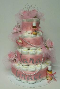 Roses and Pearls Diaper Cake